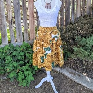 Etcetera Tropical Print Flared Bell Skirt NWTs